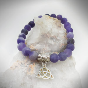 Hand crafted Amethyst with Triquetra healing Bracelet