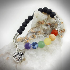 Hand crafted chakra balancing bracelet with scentable lava stone