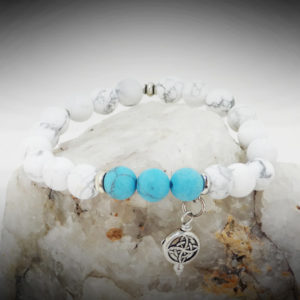 Hand-crafted Timeless Tranquility Energy Healing Bracelet. Calming Howlite