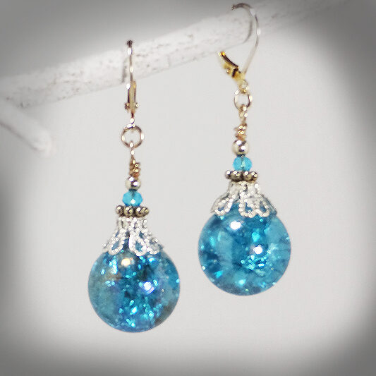 Hand-crafted Blue crackle glass earrings