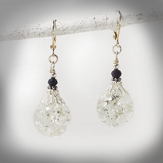 Hand-crafted clear crackle glass earrings