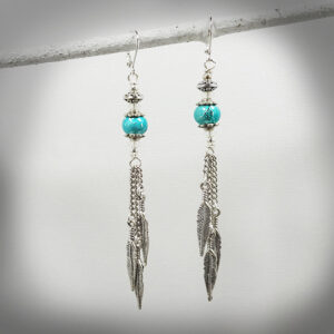 Blue Bead and Feather Charm Hand crafted earrings