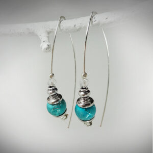 Hand-crafted U-Wire earrings with blue bead