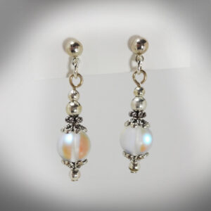 Hand-crafted aura quartz earrings