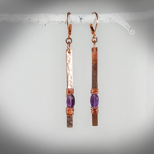 Hand-crafted hammered copper bar with amethyst earrings
