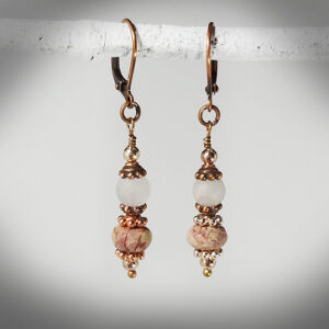 Hand-crafted faceted jasper and rose quartz earrngs