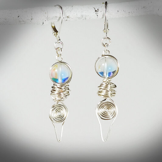Hand-crafted Goddess earrings with aura quartz