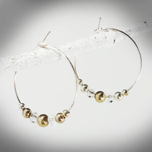 Hand-craffted Gold and silver metal ball Hoop earrings