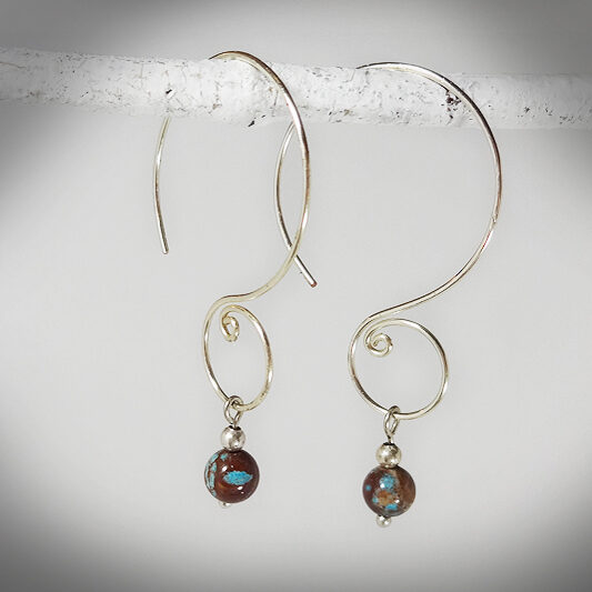 Hand-crafted Spiral Hoop Earrings with Sea Sediment Jasper