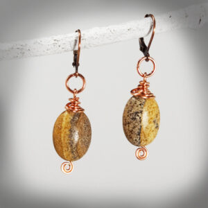 Hand-crafted Picture Jasper and copper earrings
