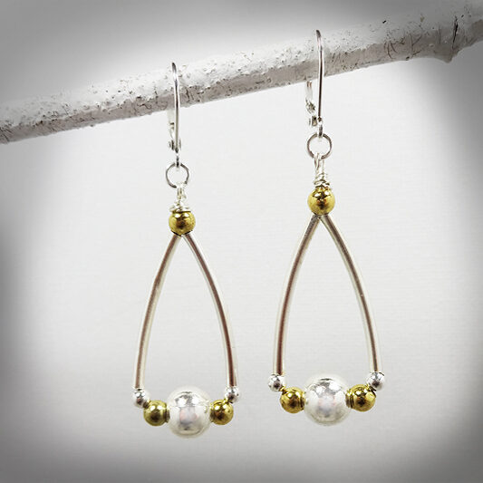 Silver and Gold tone handcrafted drop earrings