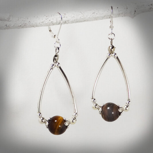 Hand-crafted Tiger eye tear drop earrings