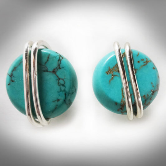 Hand-crafted Turquoise Howlite stud earrings