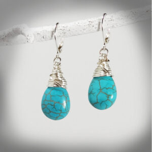 Hand crafted Turquoise Tear Drop Earrings
