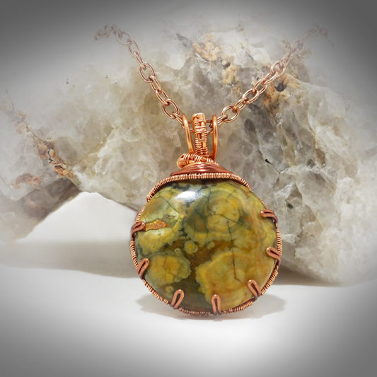 Hand crafted Green Jasper and Copper wire wrap necklace