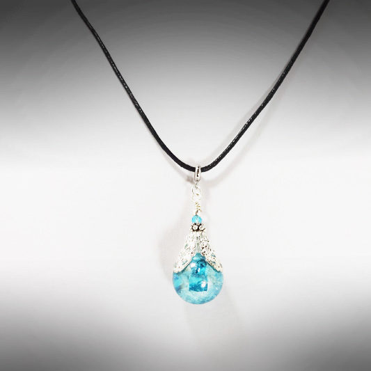 Hand-crafted Blue Fairy Ball Necklace