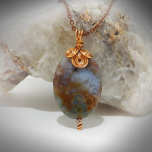 Hand crafted Moss Agate with copper necklace