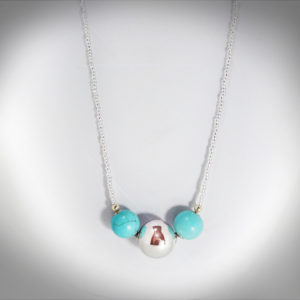Hand-crafted Silver Ball and Turquoise-Howlite Necklace